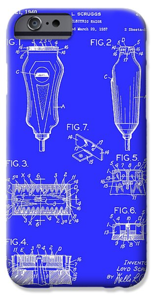 Electric Drawings iPhone Cases - Electric Razor Patent 1940 iPhone Case by Mountain Dreams