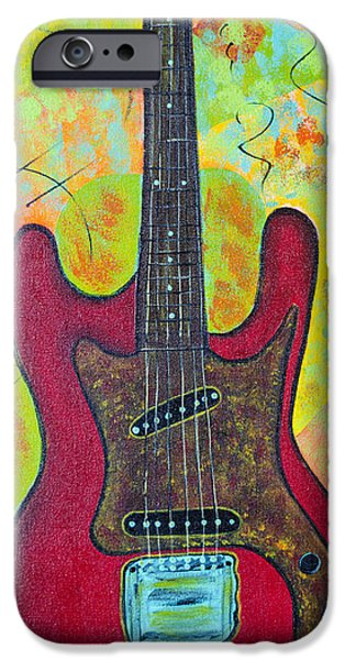 Fender Strat Paintings iPhone Cases - Electric Red iPhone Case by Robin Hillman