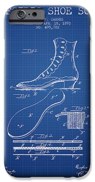 High Heeled iPhone Cases - Electric Shoe Sole Patent from 1893 - Blueprint iPhone Case by Aged Pixel