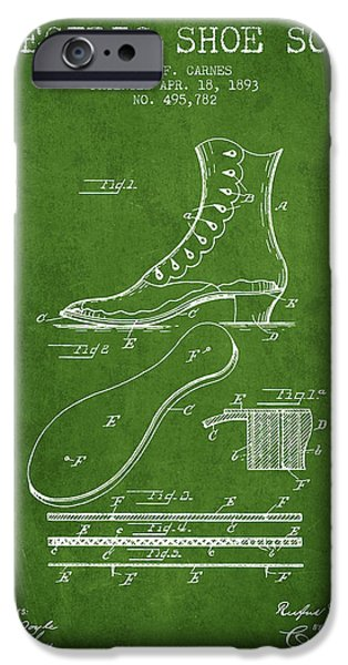 High Heeled iPhone Cases - Electric Shoe Sole Patent from 1893 - Green iPhone Case by Aged Pixel