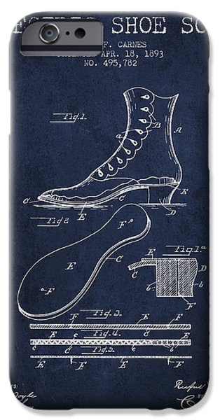 High Heeled iPhone Cases - Electric Shoe Sole Patent from 1893 - Navy Blue iPhone Case by Aged Pixel