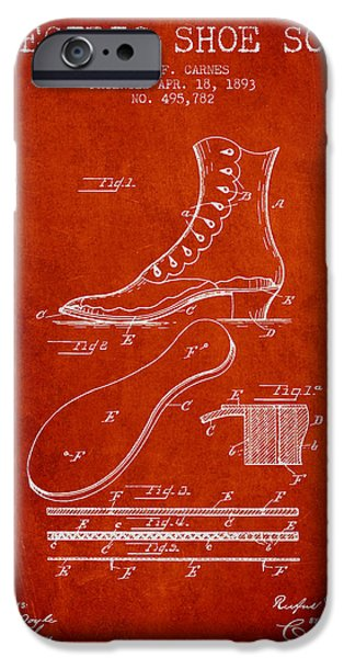 High Heeled iPhone Cases - Electric Shoe Sole Patent from 1893 - Red iPhone Case by Aged Pixel