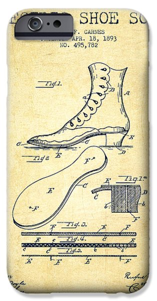 High Heeled iPhone Cases - Electric Shoe Sole Patent from 1893 - Vintage iPhone Case by Aged Pixel