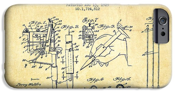 Device iPhone Cases - Electric Tattooing Device Patent From 1929 - Vintage iPhone Case by Aged Pixel
