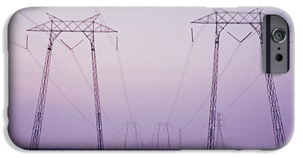Power iPhone Cases - Electric Towers At Sunset, California iPhone Case by Panoramic Images