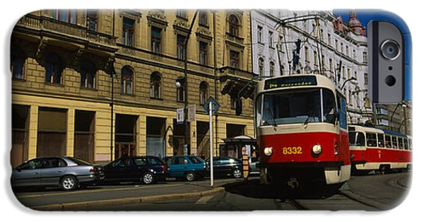 Window Of Life iPhone Cases - Electric Train On A Street, Prague iPhone Case by Panoramic Images