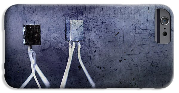 Components iPhone Cases - Electrical circuits in blue tone iPhone Case by Toppart Sweden