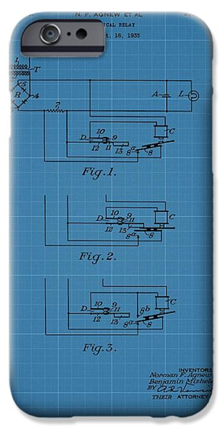 Electric Current iPhone Cases - Electrical Relay Blueprint Patent iPhone Case by Dan Sproul