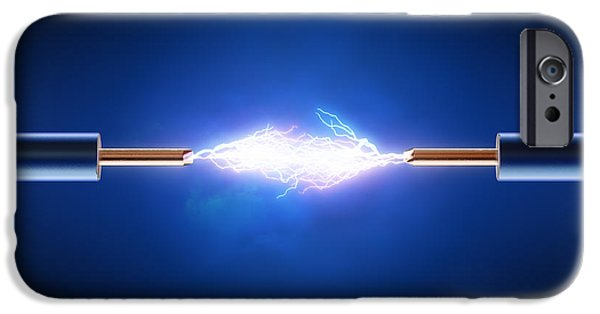 Circuit iPhone Cases - Electrical spark between  two insulated copper wires iPhone Case by Johan Swanepoel