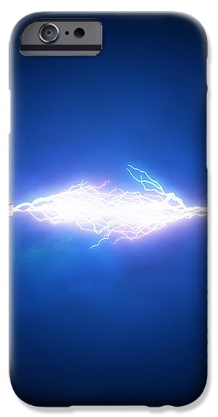 Electrical spark between  two insulated copper wires iPhone Case by Johan Swanepoel