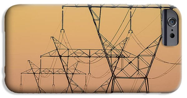 Electrical iPhone Cases - Electrical Transmission Towers iPhone Case by Tom Patrick