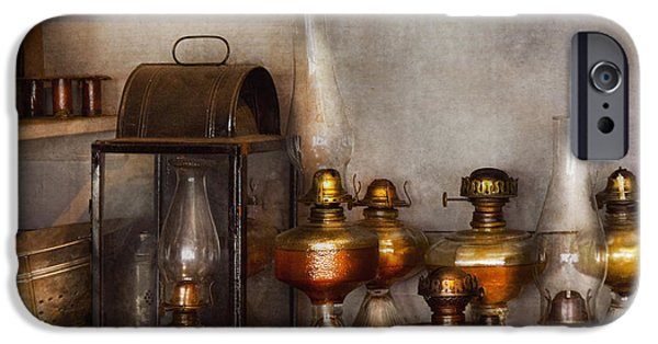 Hurricane Lamp iPhone Cases - Electrician - A collection of oil lanterns  iPhone Case by Mike Savad