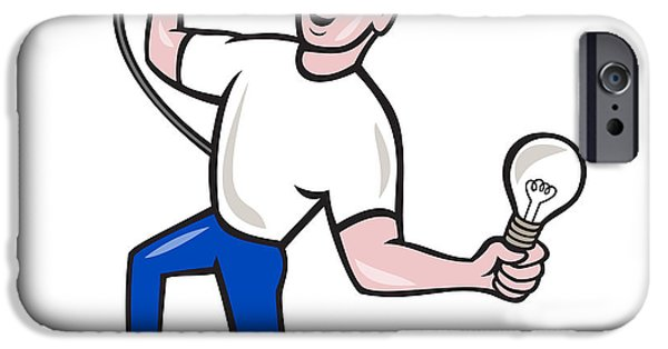 Electrician iPhone Cases - Electrician Hold Electric Plug and Bulb Cartoon iPhone Case by Aloysius Patrimonio