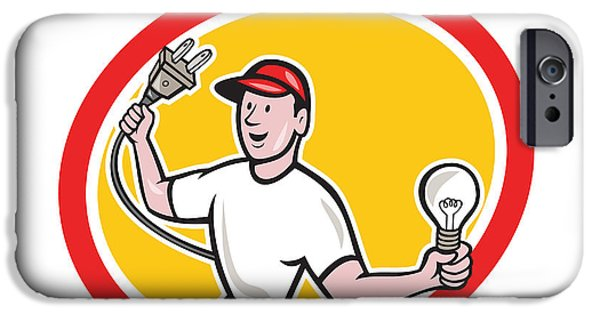 Electrician iPhone Cases - Electrician Holding Electric Plug and Bulb Cartoon iPhone Case by Aloysius Patrimonio