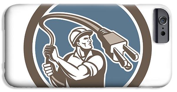 Electrician iPhone Cases - Electrician Holding Electric Plug Lasso Retro iPhone Case by Aloysius Patrimonio