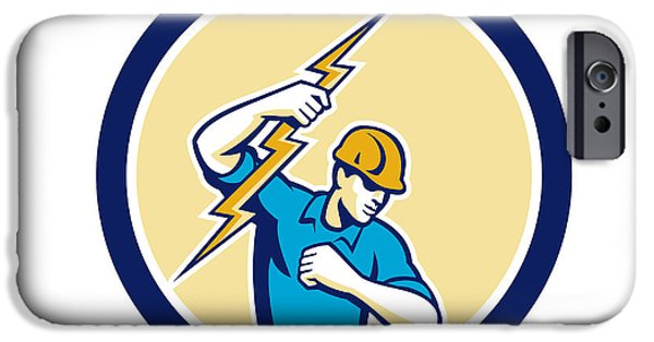 Electrician iPhone Cases - Electrician Holding Lightning Bolt Side Circle iPhone Case by Aloysius Patrimonio