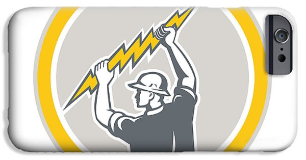 Electrician iPhone Cases - Electrician Holding Lightning Bolt Side Retro iPhone Case by Aloysius Patrimonio