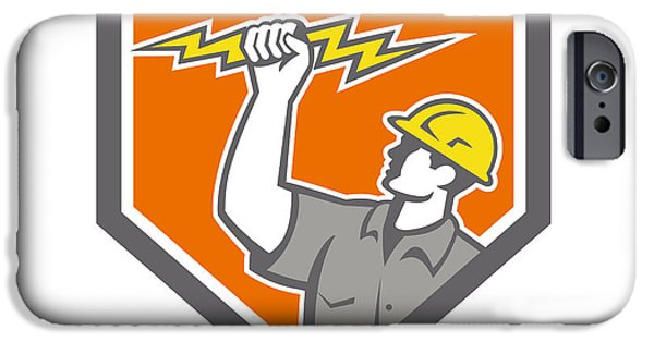 Electrician iPhone Cases - Electrician Wield Lightning Bolt Side Crest iPhone Case by Aloysius Patrimonio