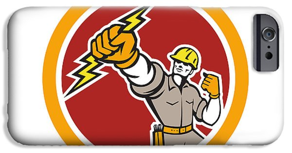 Electrician iPhone Cases - Electrician Wielding Lightning Bolt Circle Retro iPhone Case by Aloysius Patrimonio