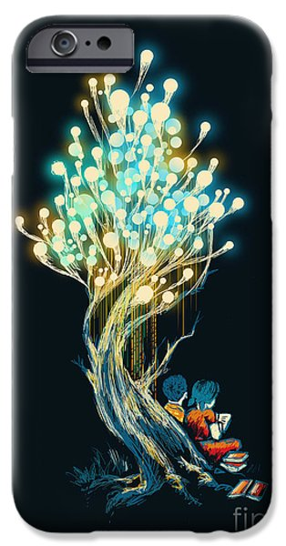 Child Digital iPhone Cases - ElectriciTree iPhone Case by Budi Kwan
