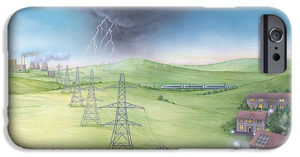 Electrical iPhone Cases - Electricity Supply Chain, Artwork iPhone Case by Gary Hincks