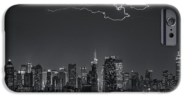 Empire State iPhone Cases - Electrifying New York City BW iPhone Case by Susan Candelario