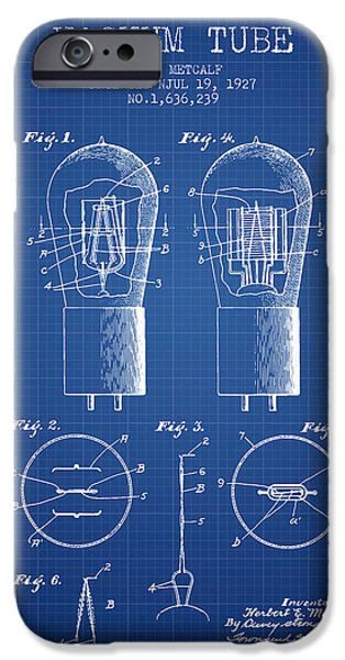 Electric Current iPhone Cases - Electrode Vacuum Tube Patent From 1927 - Blueprint iPhone Case by Aged Pixel
