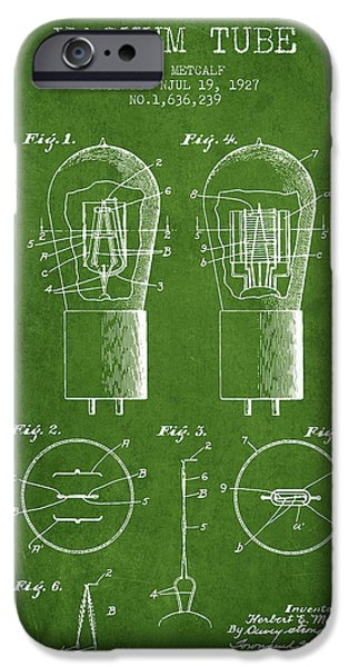 Electric Current iPhone Cases - Electrode Vacuum Tube Patent From 1927 - Green iPhone Case by Aged Pixel