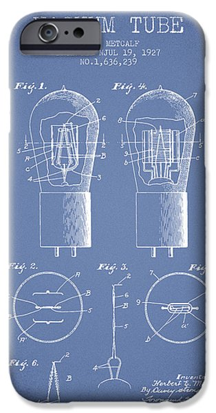 Electric Current iPhone Cases - Electrode Vacuum Tube Patent From 1927 - Light Blue iPhone Case by Aged Pixel
