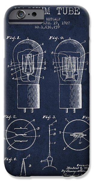 Electric Current iPhone Cases - Electrode Vacuum Tube Patent From 1927 - Navy Blue iPhone Case by Aged Pixel