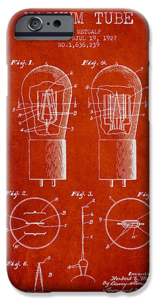 Electric Current iPhone Cases - Electrode Vacuum Tube Patent From 1927 - Red iPhone Case by Aged Pixel