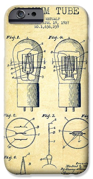Electric Current iPhone Cases - Electrode Vacuum Tube Patent From 1927 - Vintage iPhone Case by Aged Pixel