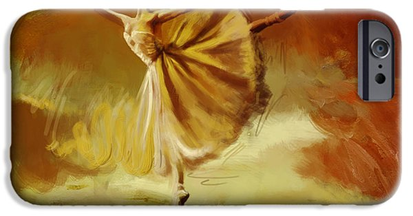 Ballet Dancers Paintings iPhone Cases - Elegance  iPhone Case by Corporate Art Task Force
