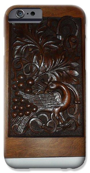 Bird Reliefs iPhone Cases - Elegant bird iPhone Case by Antoni Golabovski