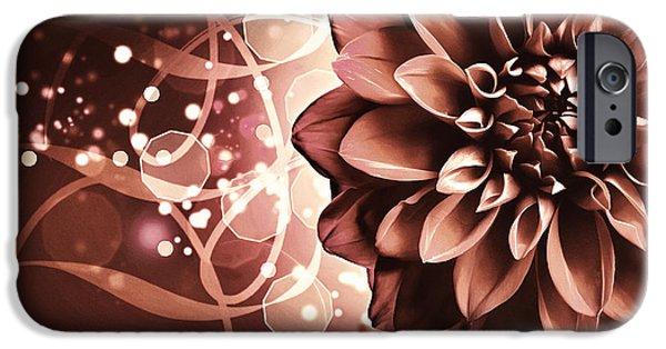Flora Mixed Media iPhone Cases - Elegant Burning Dahlia iPhone Case by Georgiana Romanovna