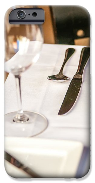 Wine Service Photographs iPhone Cases - Elegant Dinner Table Set With Knife Fork And Wine Glass iPhone Case by Alexandr Grichenko