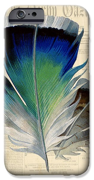 Nature Study Digital Art iPhone Cases - Elegant Feather-A iPhone Case by Jean Plout