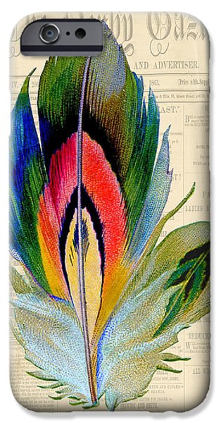 Nature Study Digital Art iPhone Cases - Elegant Feather-B iPhone Case by Jean Plout