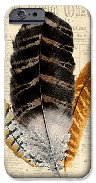 Nature Study Digital Art iPhone Cases - Elegant Feather-D iPhone Case by Jean Plout
