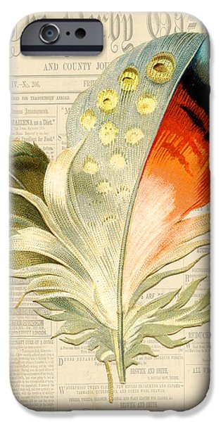 Nature Study Digital Art iPhone Cases - Elegant Feather-E iPhone Case by Jean Plout