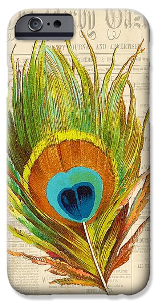 Nature Study Digital Art iPhone Cases - Elegant Feather-F iPhone Case by Jean Plout