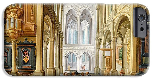 Religious Drawings iPhone Cases - Elegant Figures in a Gothic Church iPhone Case by Dirck Van Deelen