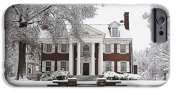 Snow Scene iPhone Cases - Elegant Mansion Snow Scene iPhone Case by Luther   Fine Art