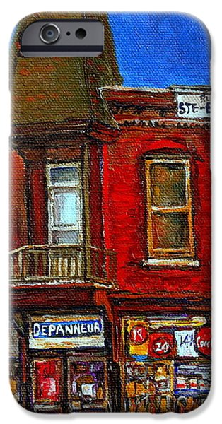 Depanneur iPhone Cases - Elegant Victorian Beauty By Carole Spandau Montreal Memories Painter -art Historian Montreal iPhone Case by Carole Spandau