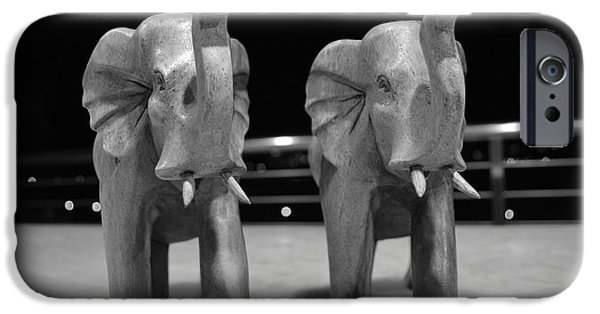 Elephants Pyrography iPhone Cases - Elephant Strong  iPhone Case by Andrei Rochester