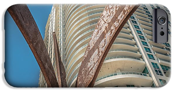 Concrete Jungle iPhone Cases - Element of Duenos do los Estrellas statue with Miami downtown in background - Square Crop iPhone Case by Ian Monk