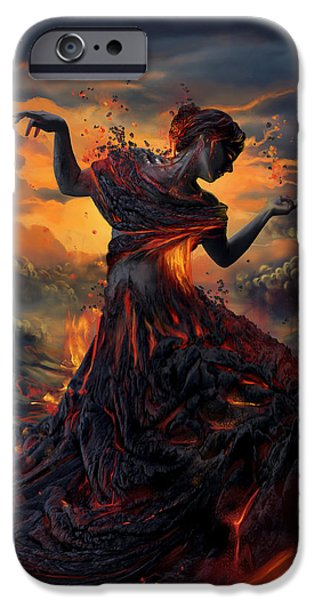 Decorative Digital Art iPhone Cases - Elements - Fire iPhone Case by Cassiopeia Art