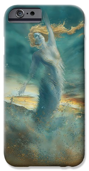 Fantasy Digital Art iPhone Cases - Elements - Wind iPhone Case by Cassiopeia Art