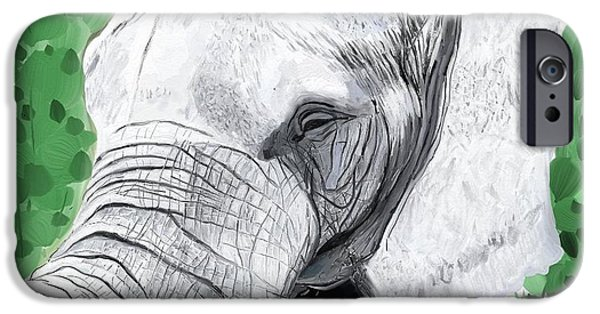 Elephants iPhone Cases - Elephant 1 iPhone Case by Jeanne Fischer