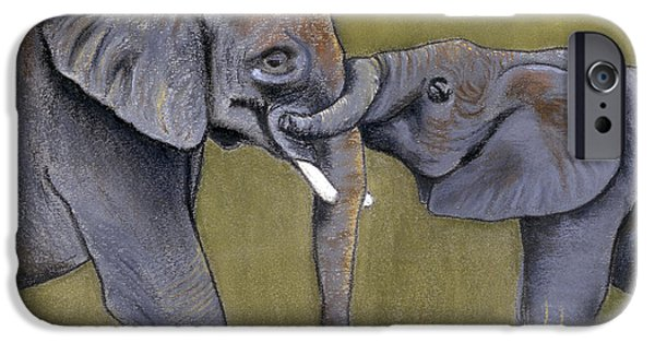 Elephants Pastels iPhone Cases - Elephant Baby Love iPhone Case by Kari Raley